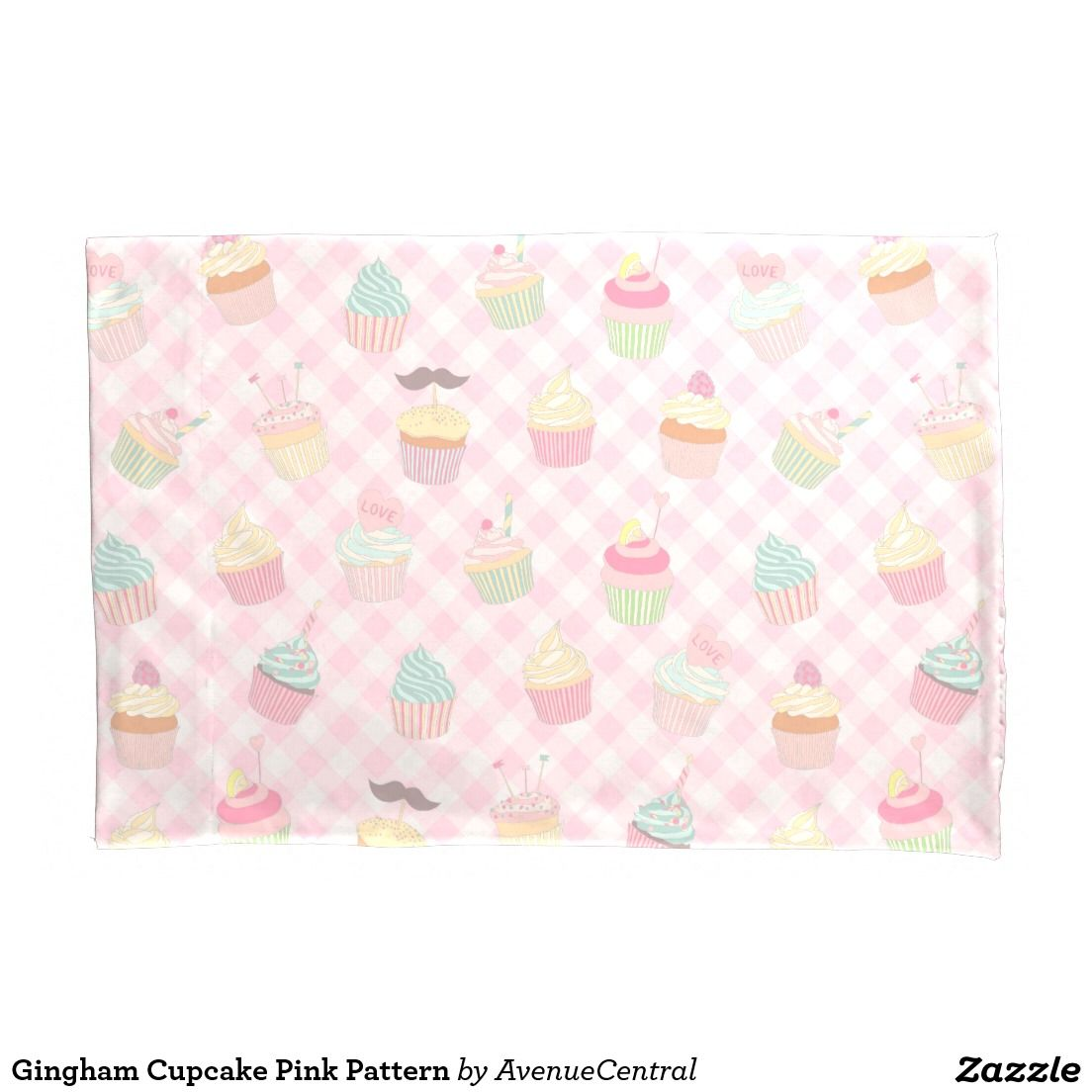 Gingham Cupcake Pink Pattern Pillowcase #gingham #cupcake #girly #pillowcase