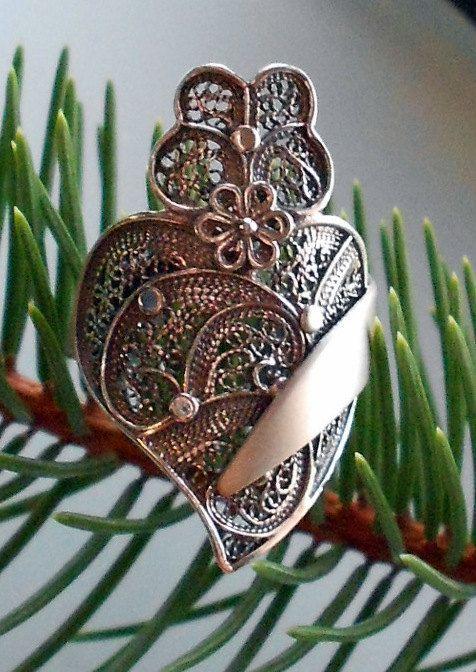 Portugal Filigree Heart of Minho Ring  Portuguese SILVER  by Atrio,
