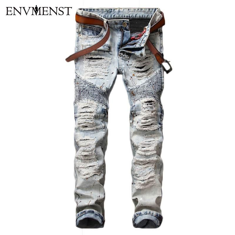 Heless-Men Fashion Washed Denim Slim Straight Fit Jeans Pants Trousers