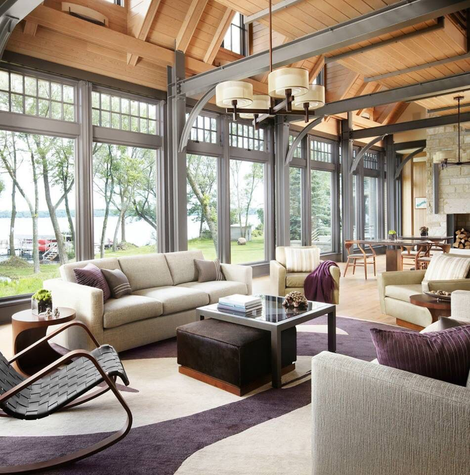 Industrial Farmhouse Living Room: Waterfront Farmhouse Living Room