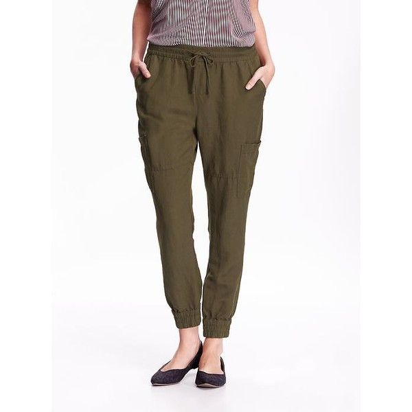 a84d600d049efb Old Navy Womens Linen Blend Cargo Joggers ($15) ❤ liked on Polyvore  featuring pants, green, petite, elastic waist cargo pants, white pants,  white cargo ...