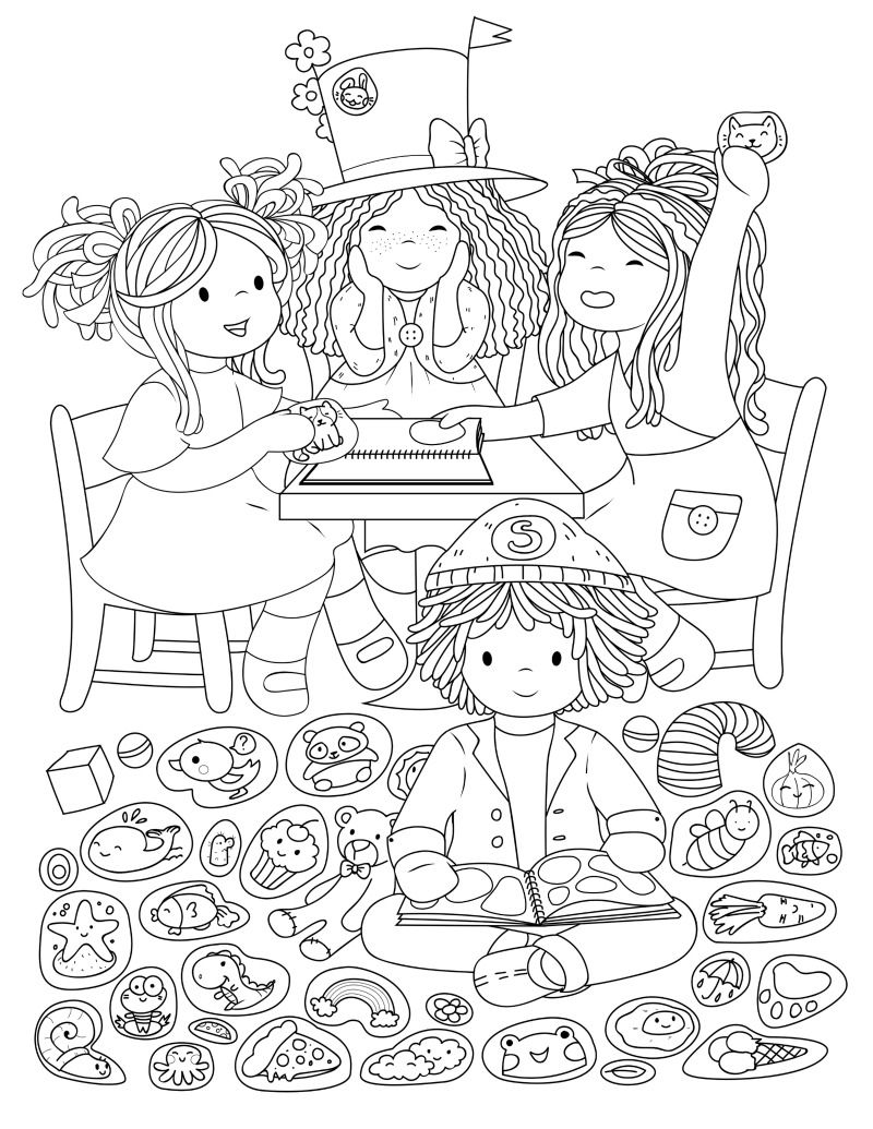 Colouring Page Sticker Collecting Bamboletta Colouring Pages