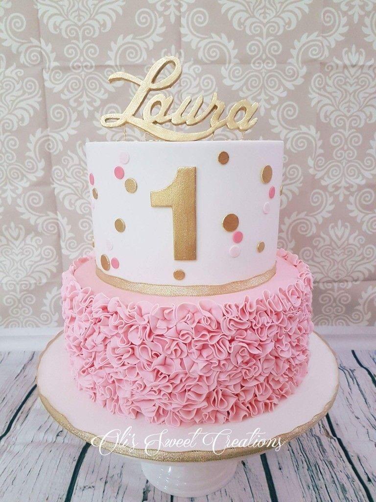 Baby Girl First Birthday Cake First Birthday Cake With Pink And Gold Theme Birthda Girls First Birthday Cake 1st Birthday Cake For Girls One Year Birthday Cake