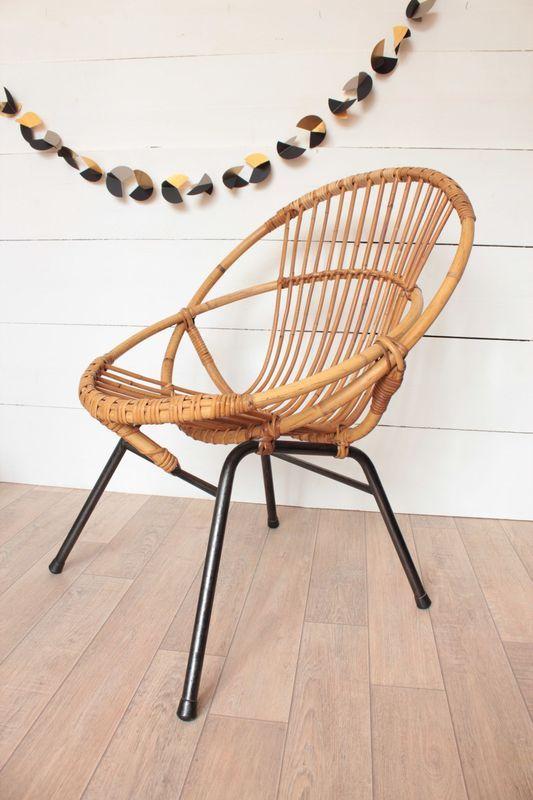 Fauteuil Coquille Vintage En Rotin Des Annees 60 Fauteuil Rotin Chaise Deco Et Mobilier De Salon