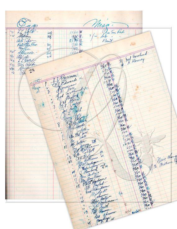 Vintage Ledger Pages Digital Download printable scrapbooking ...