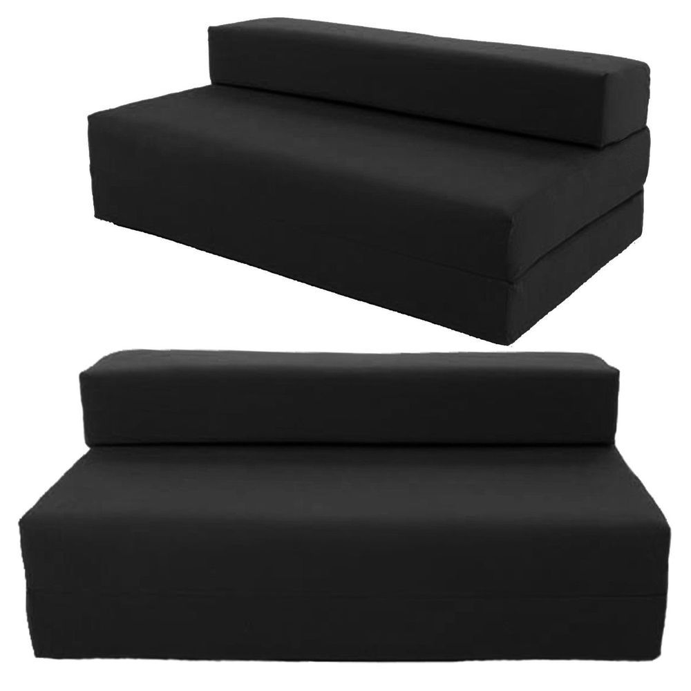 Double Sofa Bed Futon Guest Sleeper Mattress Room Couch Cover Convertible Black