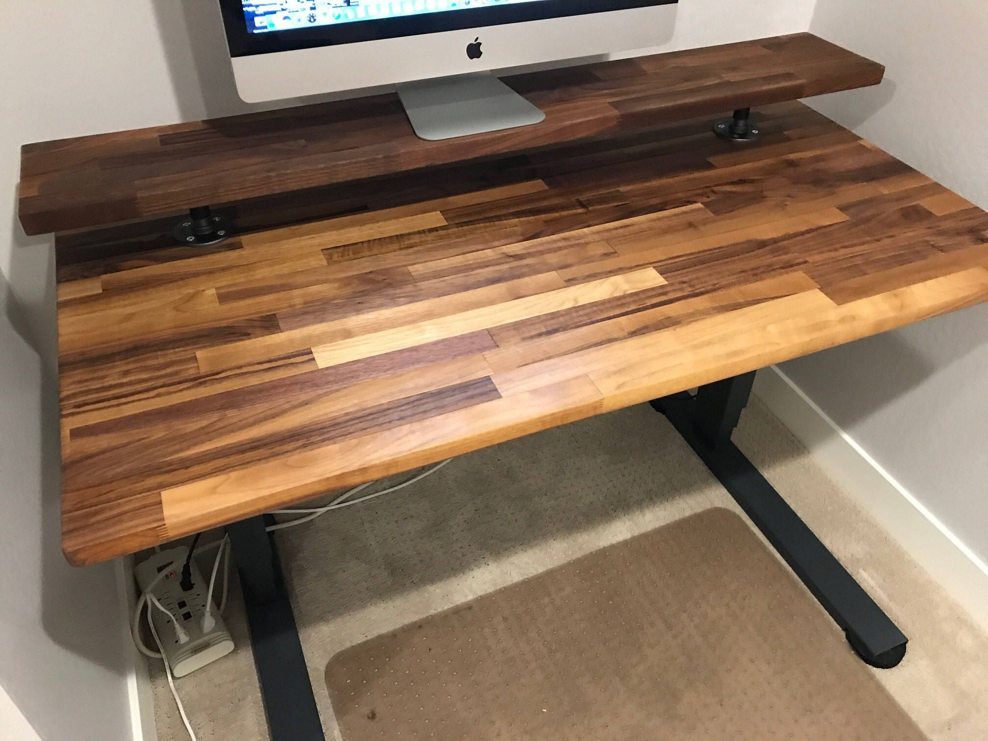 Walnut Butcher Block Desktop 25 X 48 To 72 Inch Long Character