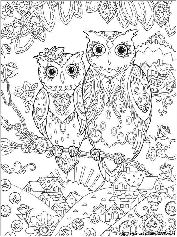 ausmalbild Nettes Paar Eule | Ausmalbilder, die ich mag. | Pinterest ...