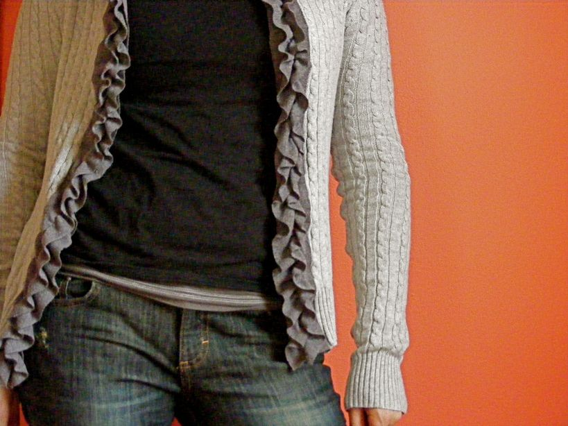 take a sweater and some knit fabric and make a ruffle cardigan