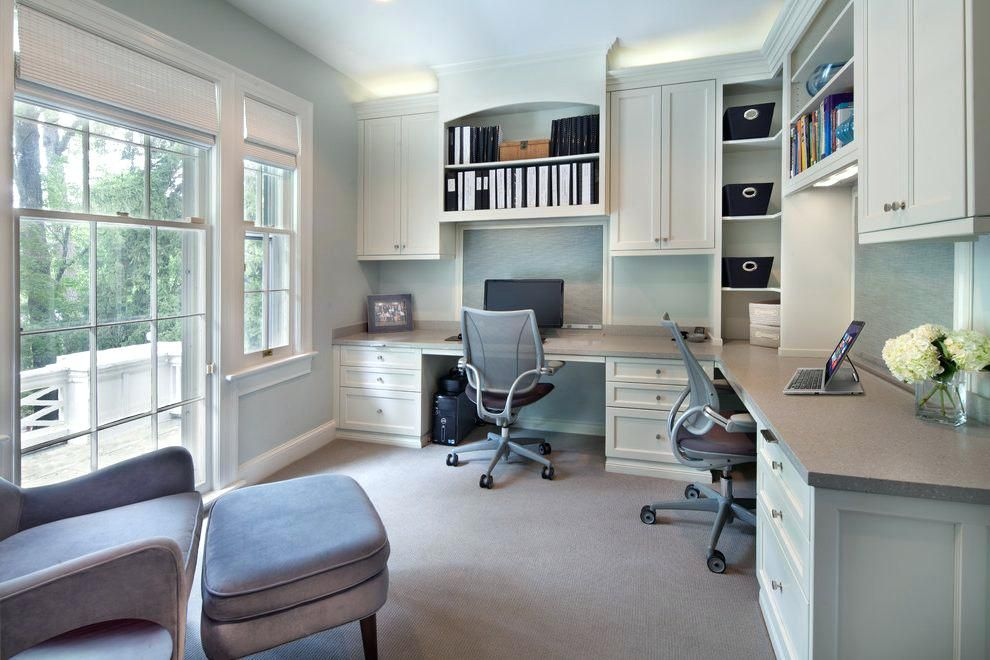 Double Desk Home Office Office Built In Bookshelves Home Office Transitional With Built In Storage Arch Home Office Layouts Home Office Design Office Built Ins