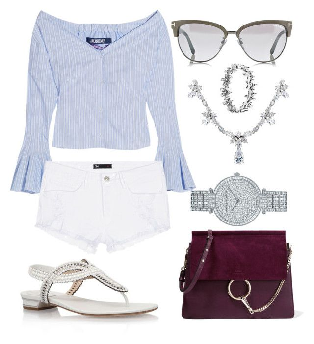 """""""Summer Outfit #195"""" by fashionbymgda ❤ liked on Polyvore featuring Harry Winston, Chloé, Jacquemus, 3x1, René Caovilla, CARAT* and Pandora"""