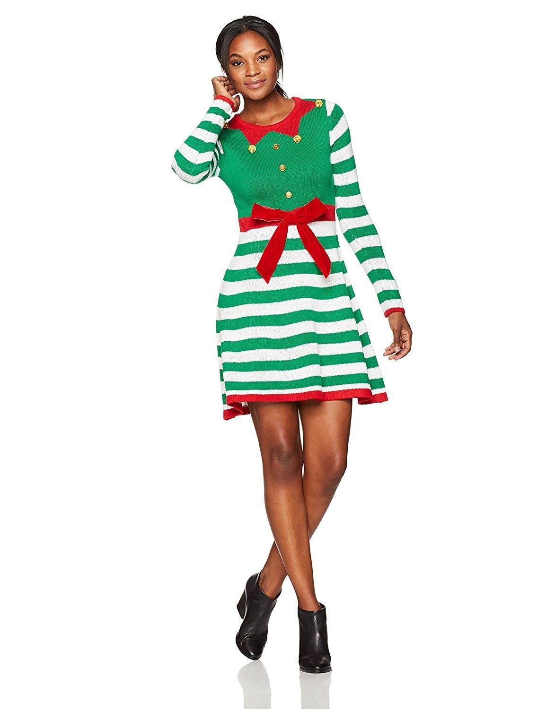 4487374748 Women s Long Sleeve Crew Neck Jacquard Skater Elf Stripe Dress ...