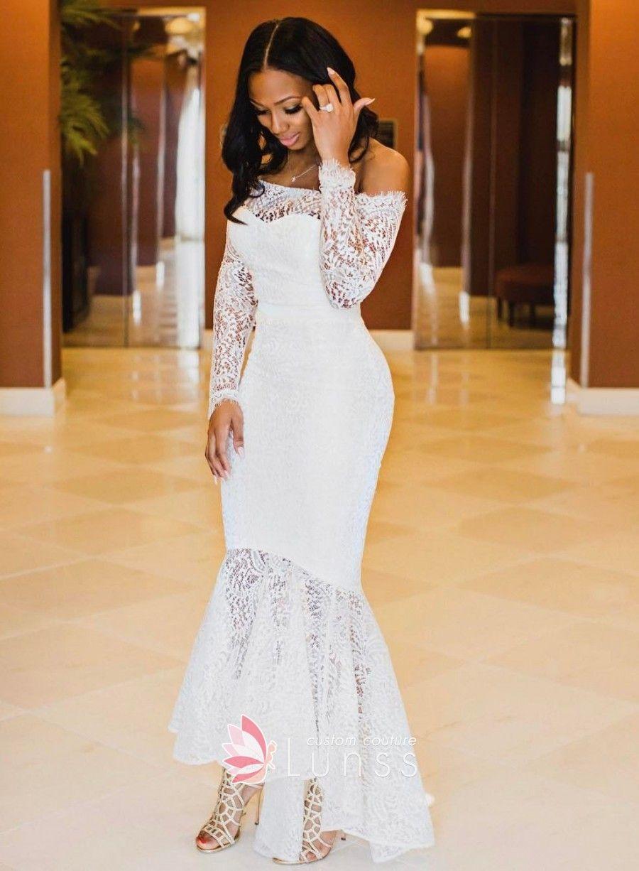 Off Shoulder Long Sleeve High Low Bridal Shower Gown Gowns Bridal Shower Dress Bridal Gowns [ 1226 x 900 Pixel ]