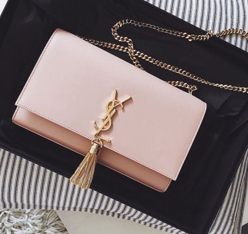 Saint Laurent Kate Monogram bag with chain tassel   YSL   blush, powder pink c9b5960037