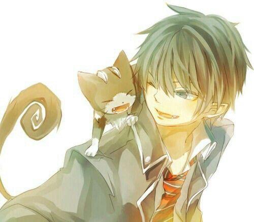 Okumura Rin, Kuro, cute; Blue Exorcist