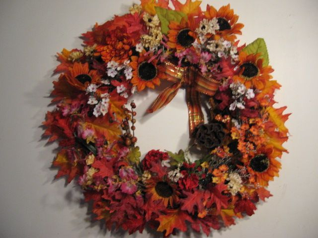 Large AUTUMN SUNFLOWER Wreath. Only one available.  OOAK.
