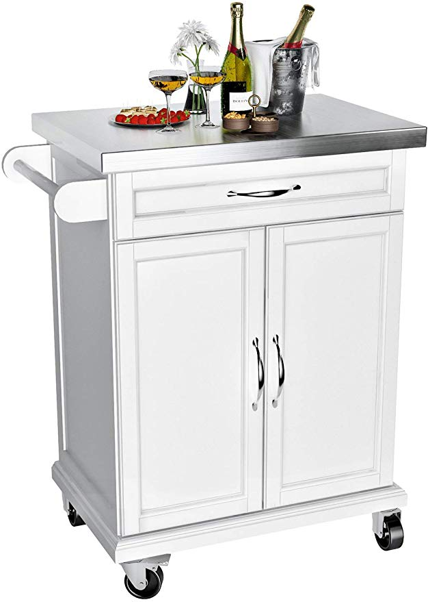 Amazon Com Vipek Wood Kitchen Trolley Cart On Wheels Heavy Duty