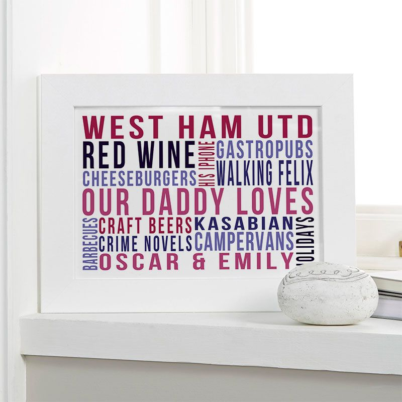 Personalised Christmas Gift For Dad Word Art Picture