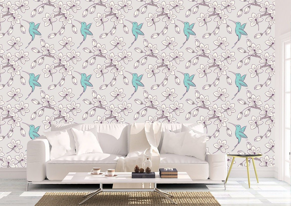 Removable Peel And Stick Wallpaper Lavender Purple And Teal Etsy Peel And Stick Wallpaper Vinyl Wallpaper Removable Wallpaper