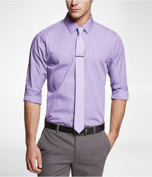 Express mens extra slim striped dress shirt purple haze x for Purple striped dress shirt