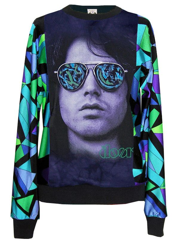 Our two favorites in one awesome sweater top! The 1950s retro pattern (Emilio Pucci) and The Doors frontman Jim Morrison wearingpsychedelic lava lamp Ray Ban g