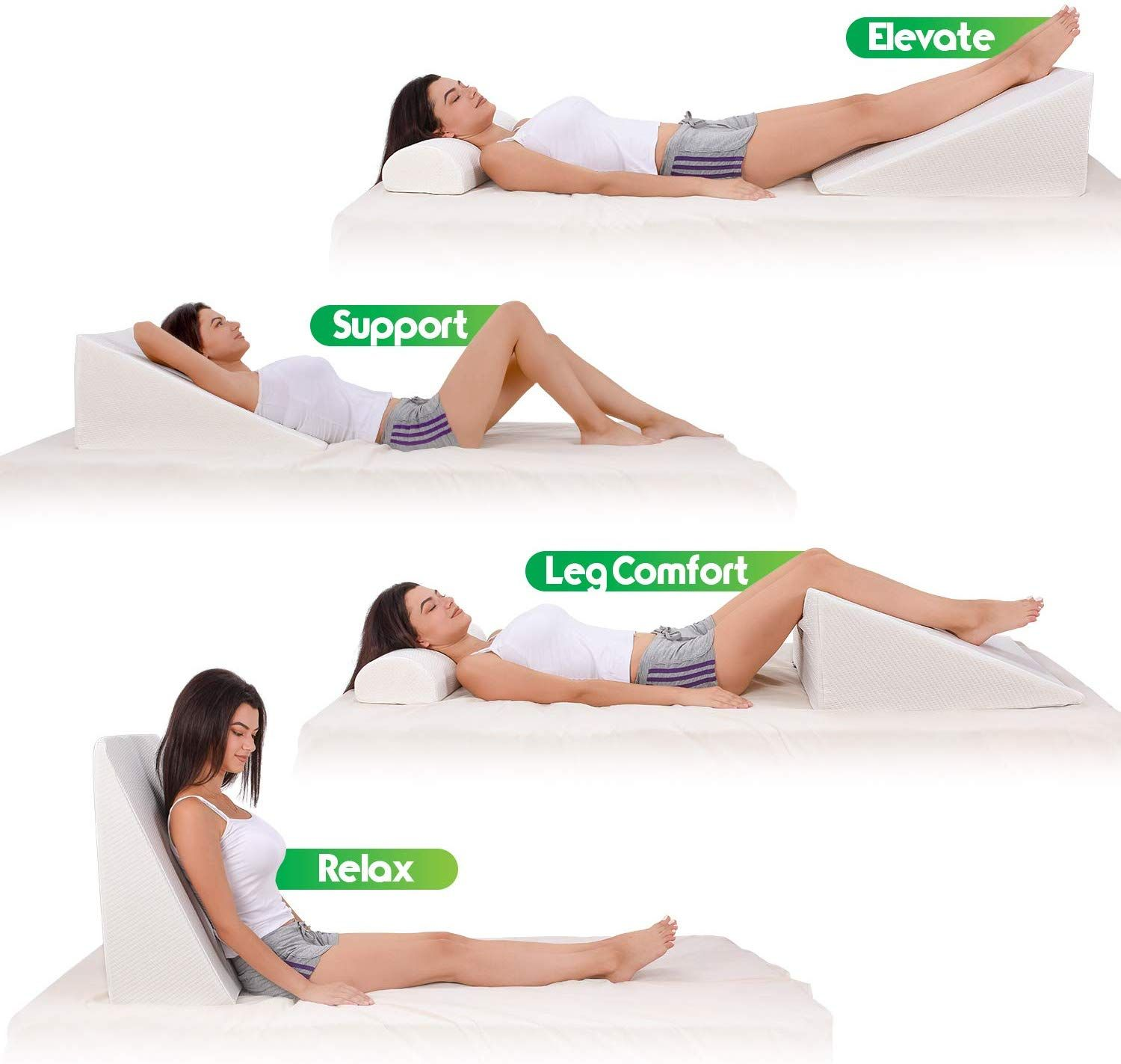 2x Acid Reflux Foam Bed Wedge Pillow Elevation Cushion Lumbar Support white