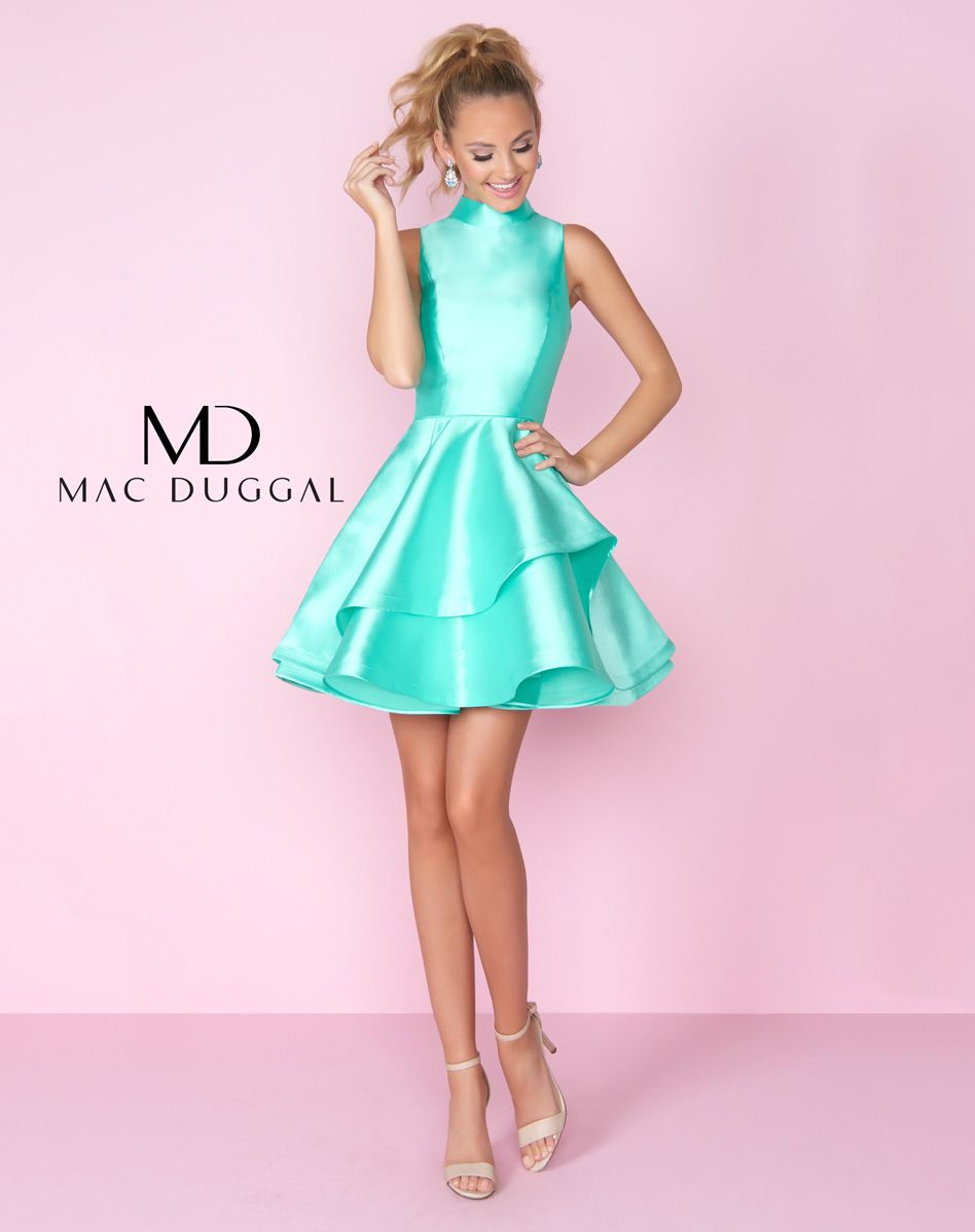 high neck sleeveless cocktail dress with tiered skirt and open