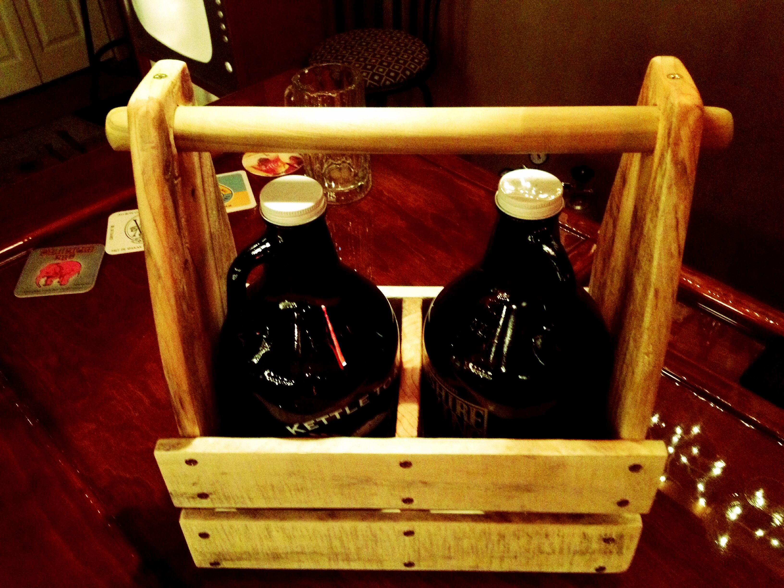 Growler Carrier Made From Pallets A Dowel And Screws Beer Carrier Wine Stains Growler Carrier
