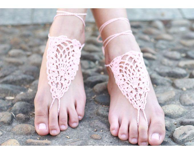 Pink Barefoot Sandals,Barefoot,Knit Sandal,Bellydance9165