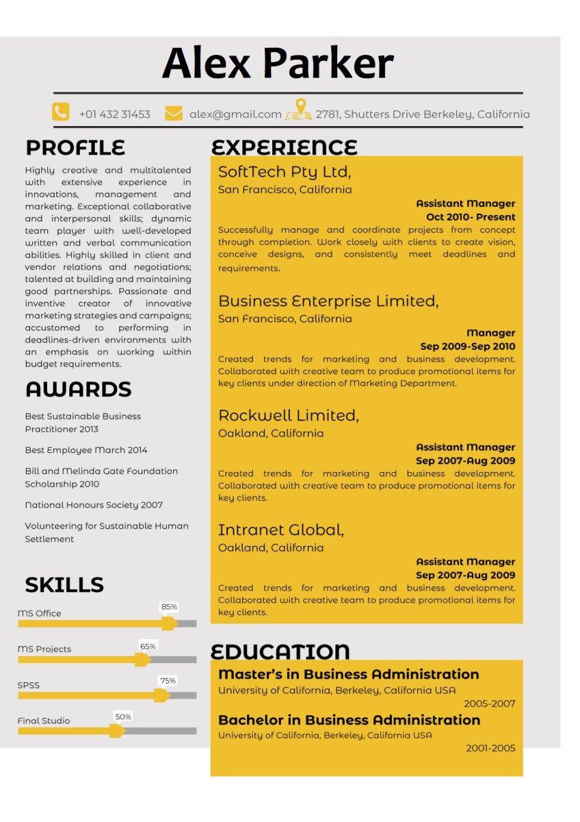 Yellow Corporate Professional Resume Vista Resume