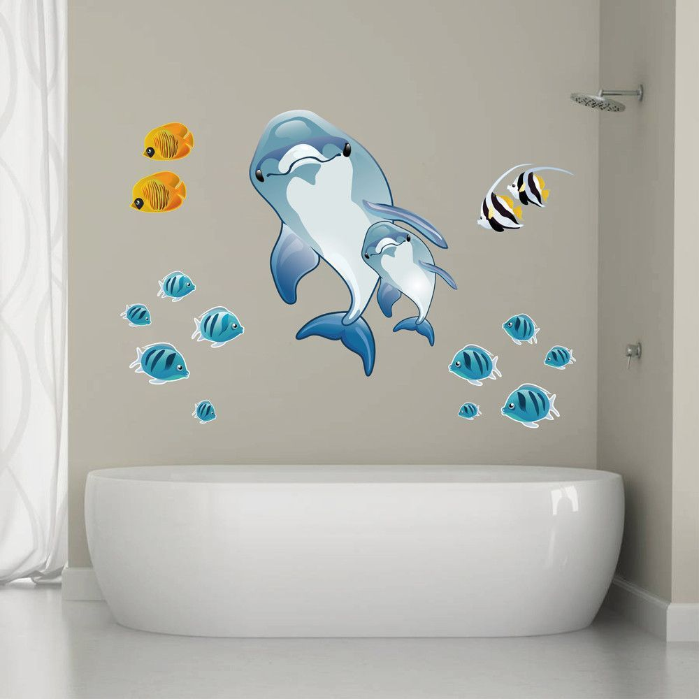 Cik292 full color wall decal dolphins coral fish suite childrens cik292 full color wall decal dolphins coral fish suite childrens room amipublicfo Image collections