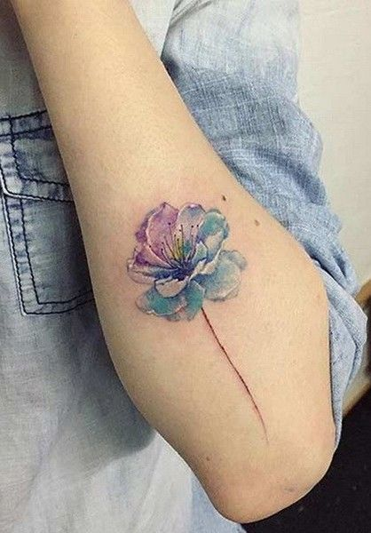 Purple & Blue Bloom - These Watercolor Tattoos Remarkably Bring Paint To Life - Photos