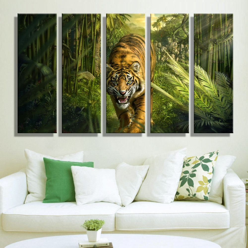 Paintings For Living Room Walls Dropshipping Wholesale Canvas Painting Art 5 Pieces Abstract