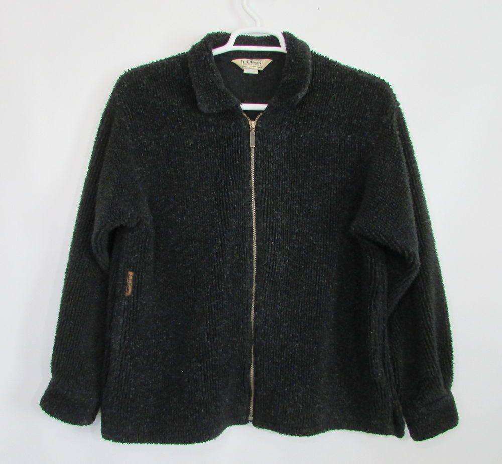 Womens vintage ll bean black fleece full zip button cuff coat jacket