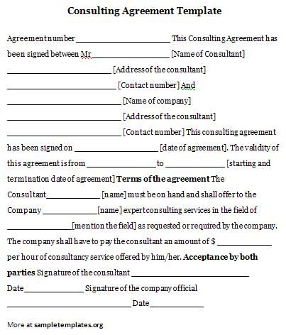 Consulting Agreement Template Consulting Agreement Template