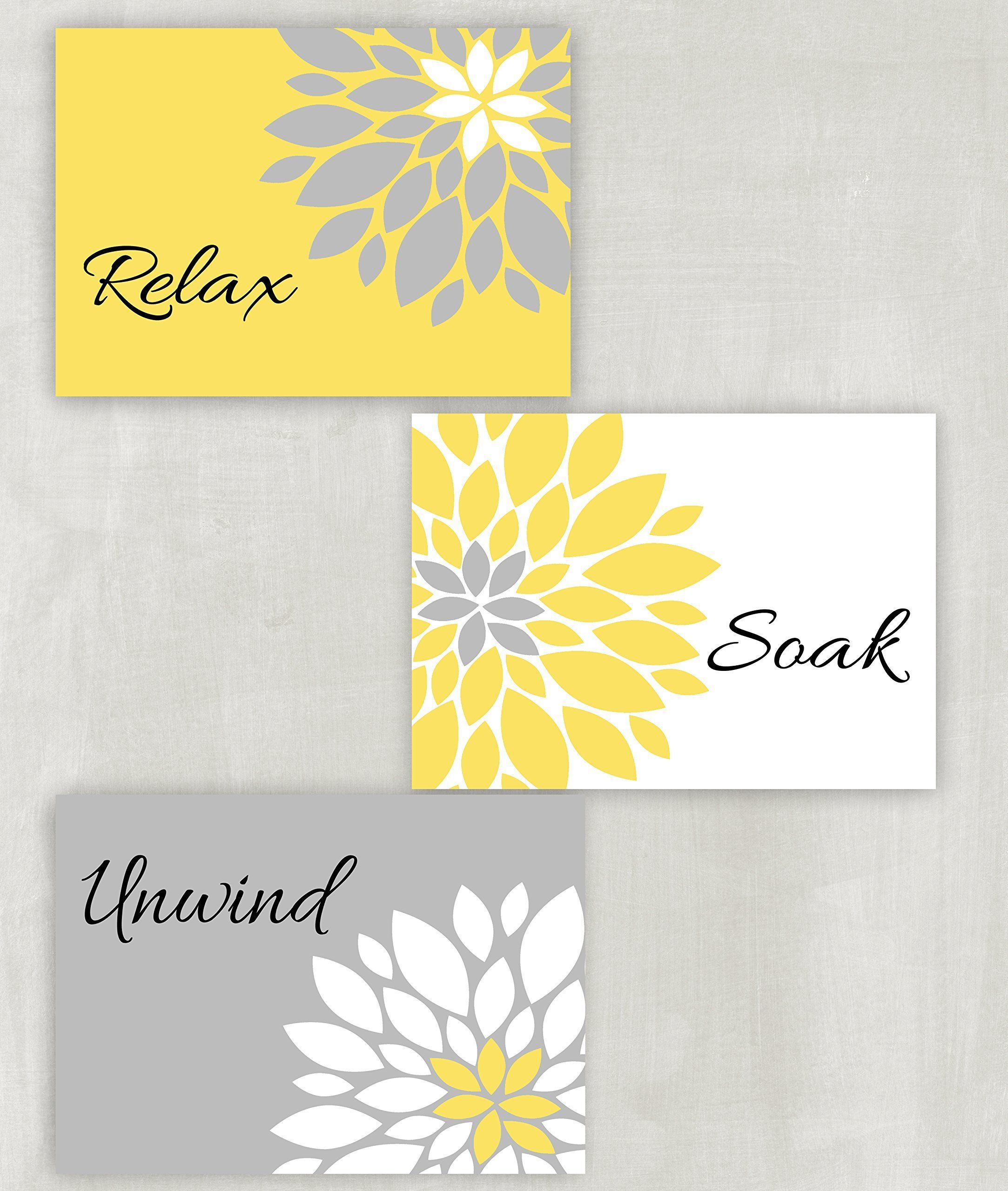 Relax Soak Unwind Floral Wall Art in Yellow, Gray and white Set of 3 ...
