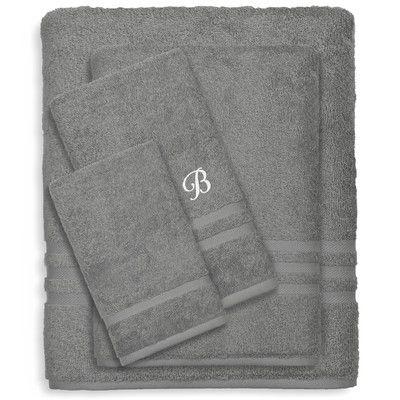 Linum Home Textiles Denzi 4 Piece Towel Set Letter: B, Color: Dark Gray