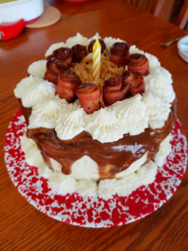 Excellent Meatloaf Birthday Cake With Bacon Roses Yum Cake Desserts Food Personalised Birthday Cards Cominlily Jamesorg