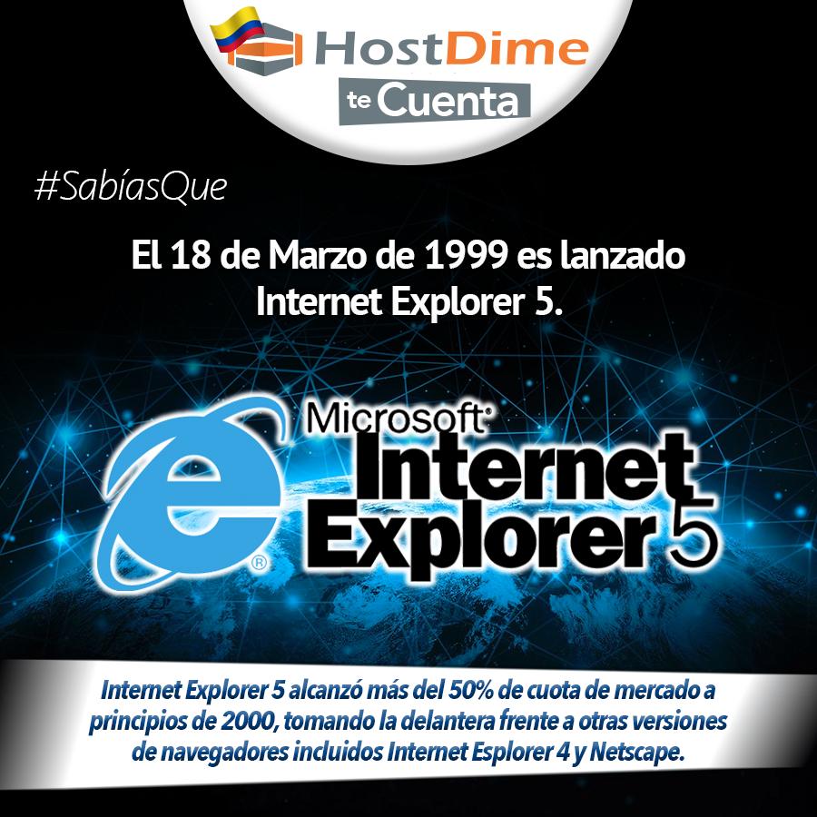 #HostDime te cuenta, #SabíasQue el 18 de Marzo de 1999 es lanzado Internet Explorer 5.