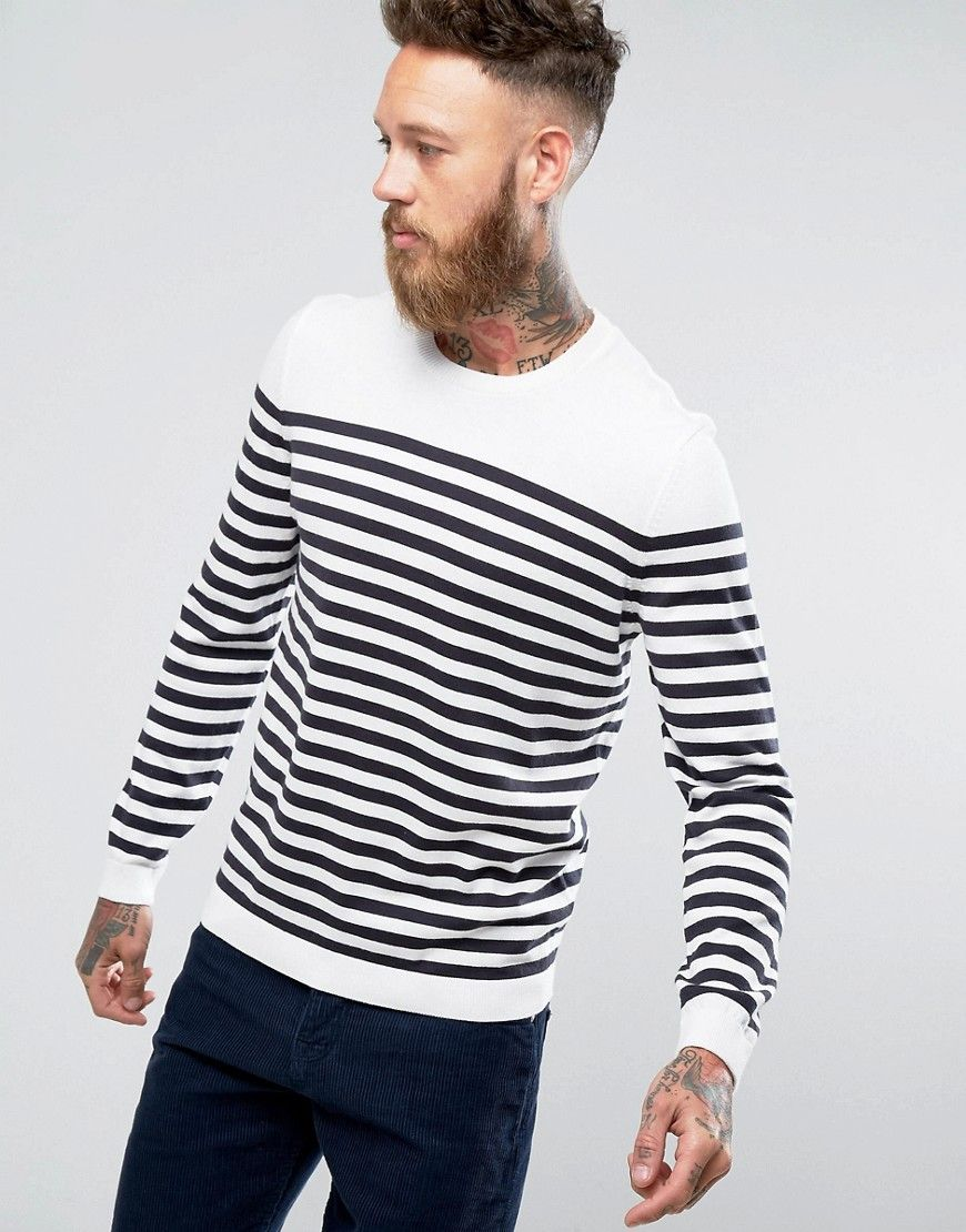 aa74d348ef0 ASOS Knitted Stripe Sweater In White & Navy - Navy | Products | Mens ...
