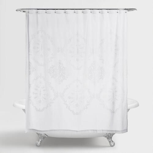 Simple Yet Sophisticated, Our 100% Cotton Shower Curtain Features A White  Embroidered Design That