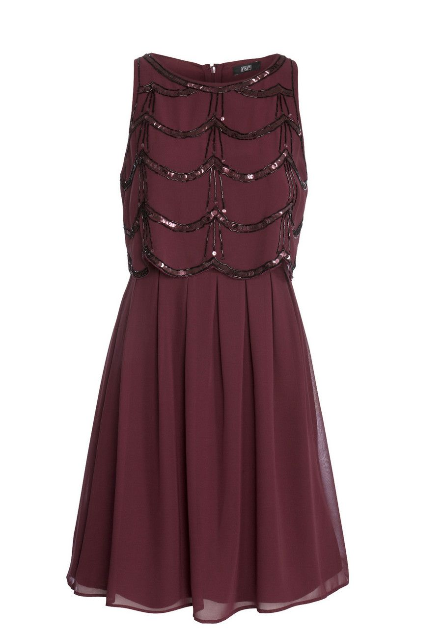Clothing At Tesco F F Embellished Scallop Hem Double Layer Dress
