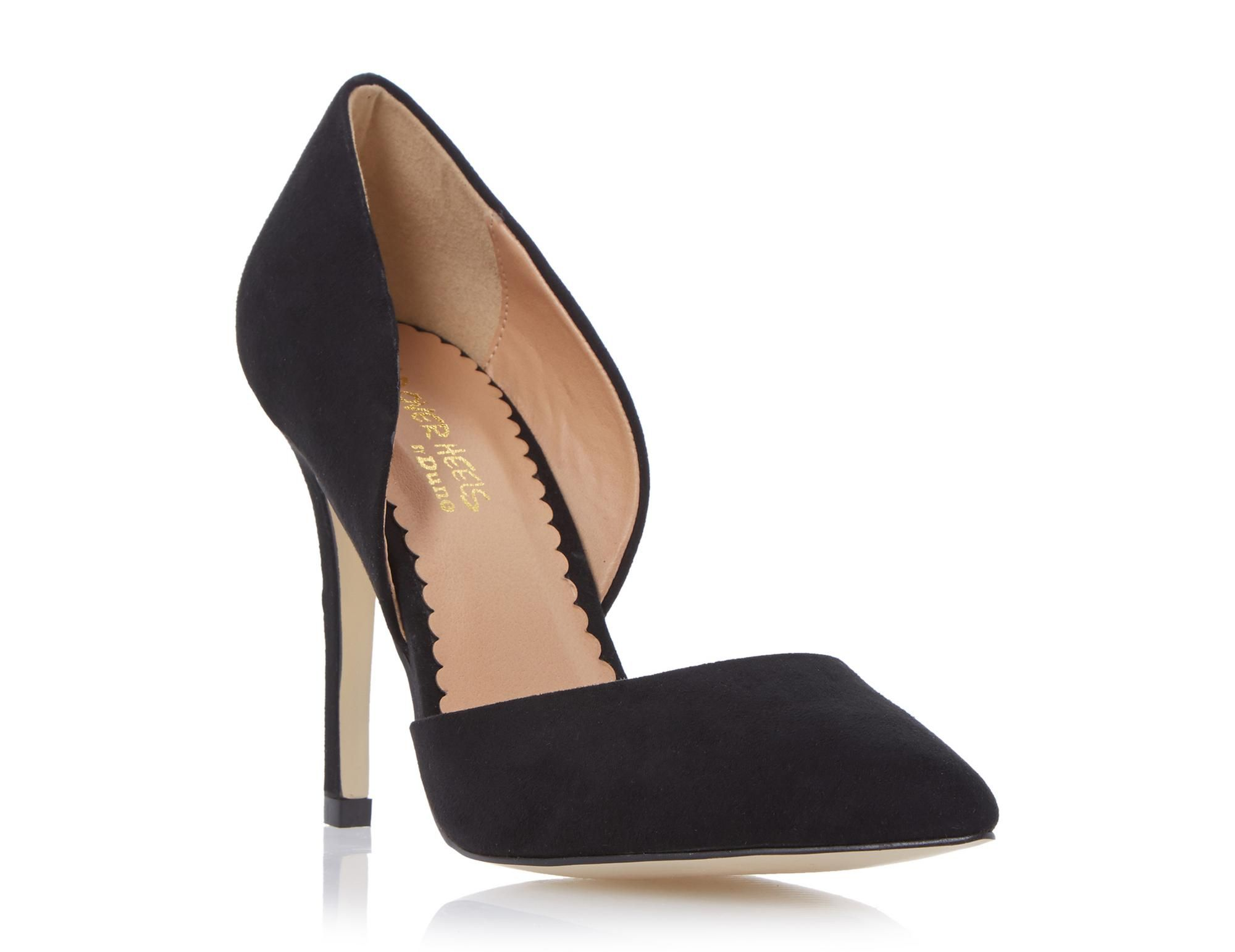 This timeless court shoe will see you through all seasons and occasions.  Features a classic pointed toe, open sides and a slim high heel. Team with  jeans ...