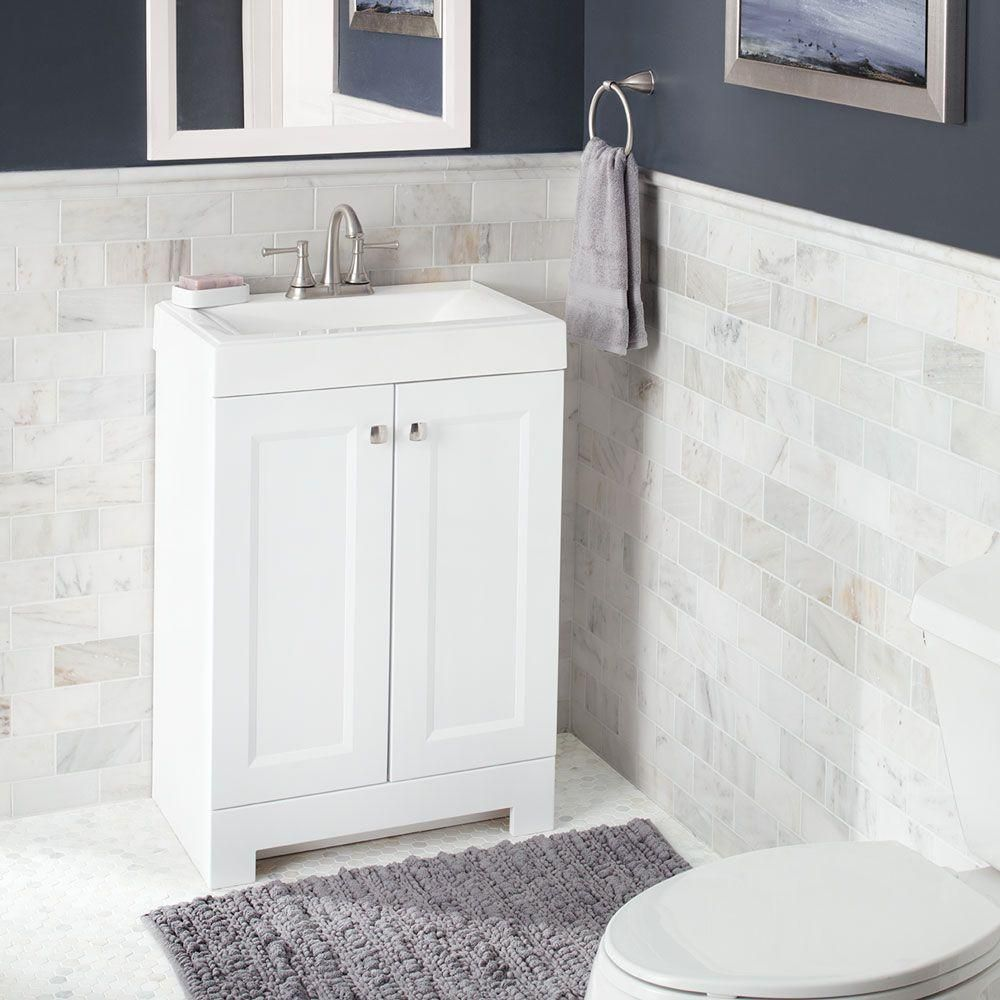 W Bath Vanity In White With Cultured Marble Vanity Top In White With White  Basin
