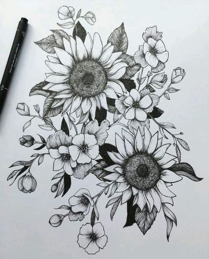 Rose Drawing Easy Sunflowers Intertwined With Other Flowers Black And White Pencil Sketch In 2020 Black Rose Tattoos Rose Tattoos Rose Tattoo Sleeve