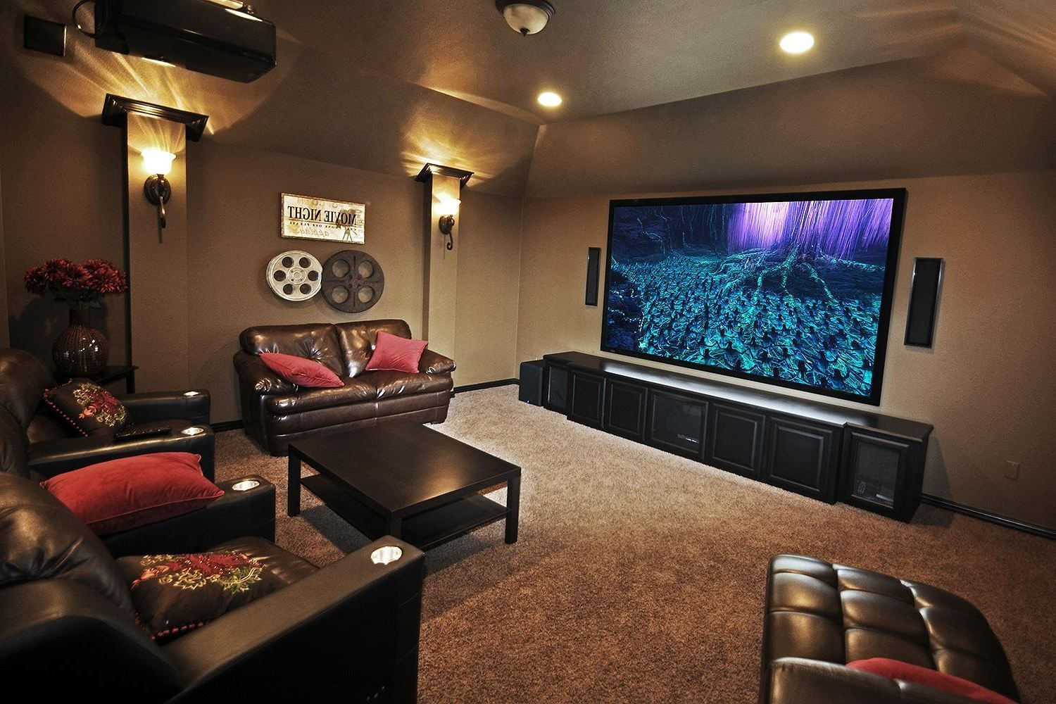 Interior Small Home Theater Room Ideas Red Color Curve Shape Sofas Rectangle Bars Table Long Small Media Rooms Media Room Design Small Home Theaters