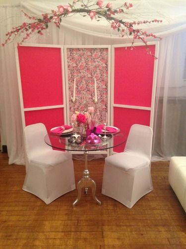 Pink backdrop for the sweetheart table. Ultra Chic Decor - Wedding ...
