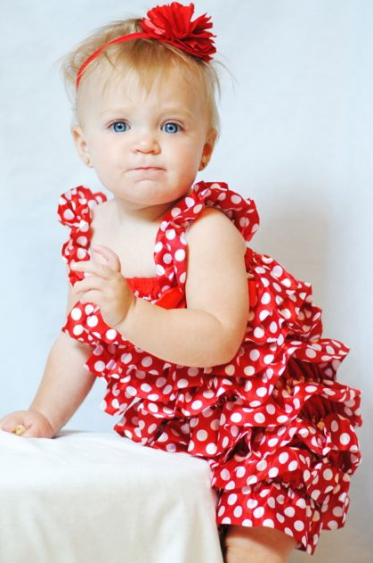 Adorable red and white polka dot romper!