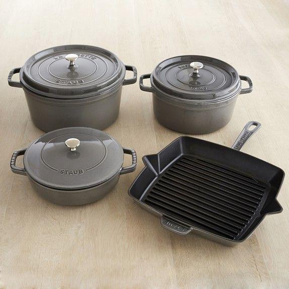Staub Cast Iron 7 Piece Cookware Set Red Cookware Set Pots And