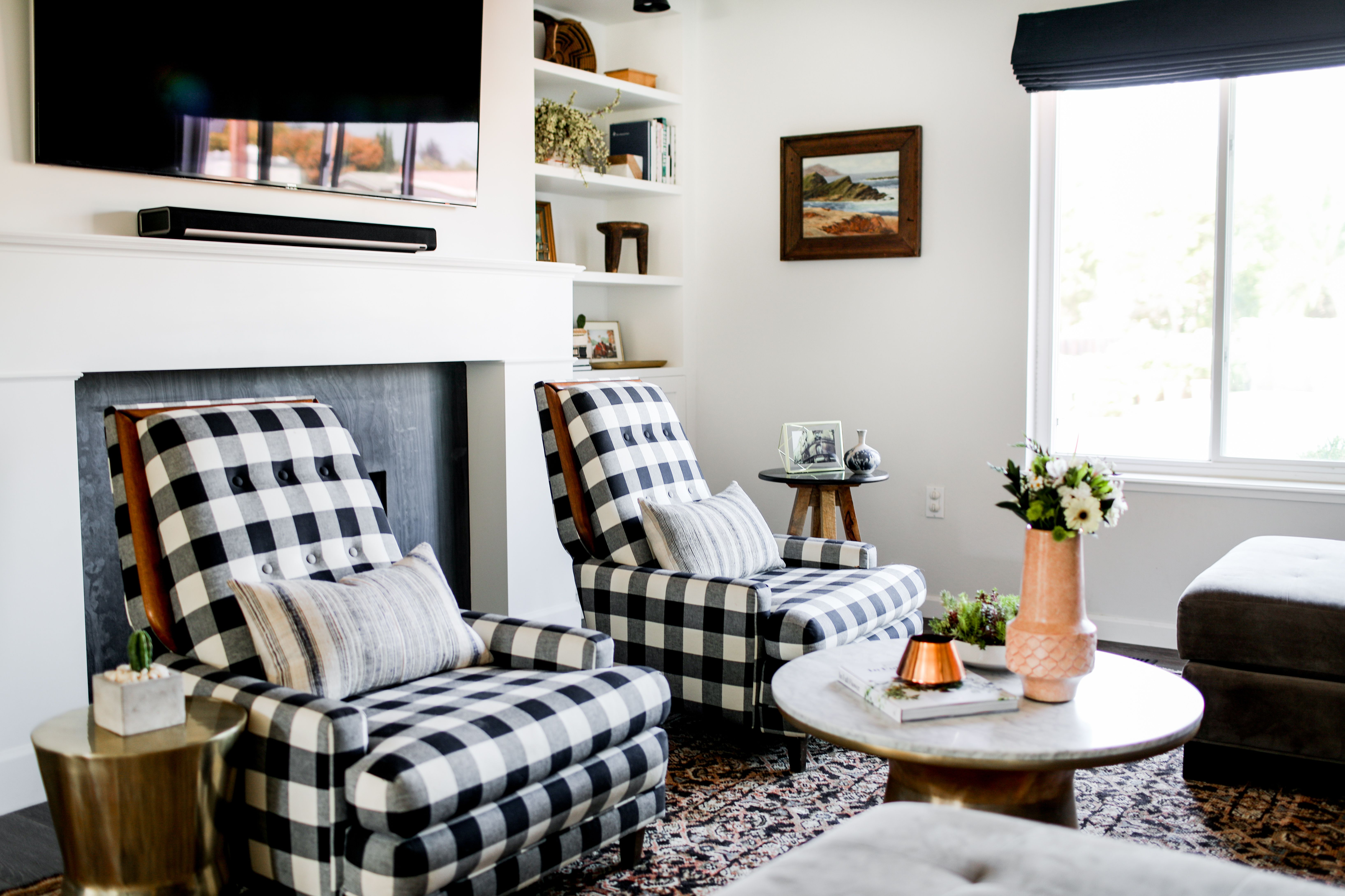 Buffalo Check Chairs With A Sliver Of Contrast Home Tour Glitter Guide